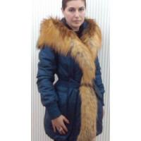 Дубленка #002 Синяя с мехом лисы