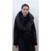 Дубленка #003 Черная с мехом чернобурки