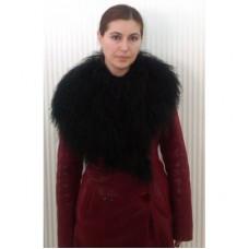 Дубленка # 008 Красная с мехом чернобурки