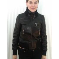 Куртка # 009 кожаная Черная короткая