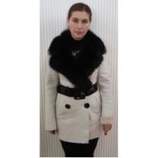 Дубленка # 010 Белая с черным мехом