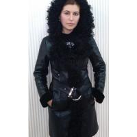 Дубленка # 011 Черная блестящая с мехом каракуля